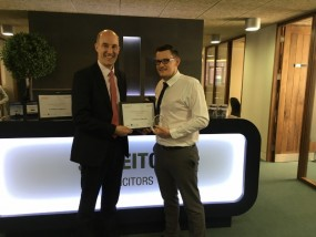 Picture of Jonathan Bourne, Damar Training's Managing Director with Christian Cameron of JB Leitch & Co, solicitors.