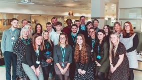 Group photo of GM Apprenticeship Ambassadors and their employers