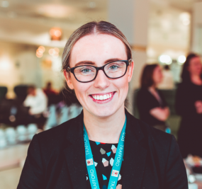 Photo of GM Apprenticeship Ambassador, Charlotte Stoddard, smiling at the camera
